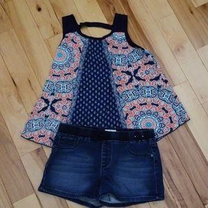 So Denim shorts | Lily Bleu top sz 14 EUC